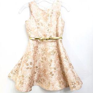 Place Peach/Gold Jacquard Floral Party Dress